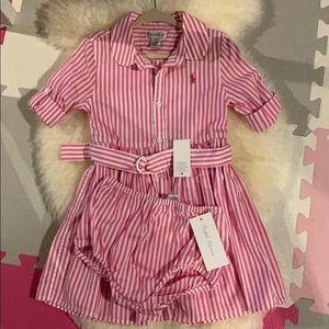 Ralph Lauren baby Girl dress pink stripes